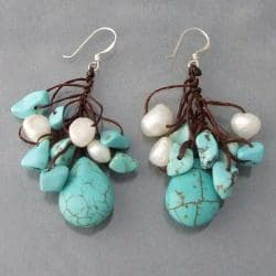 Silver and Cotton Turquoise and White Pearl Dangle Earrings (Thailand)