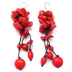 Sterling Silver Red Coral Cluster Drop Earrings (Thailand)