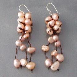 Sterling Silver Pink Pearls Cluster Drop Earrings (Thailand)
