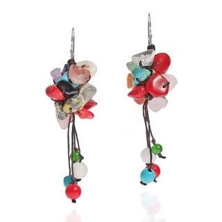 Sterling Silver Natural Multistone Cluster Earrings (Thailand)