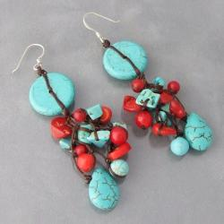 Sterling Silver Turquoise/ Coral Drop Earrings (Thailand)
