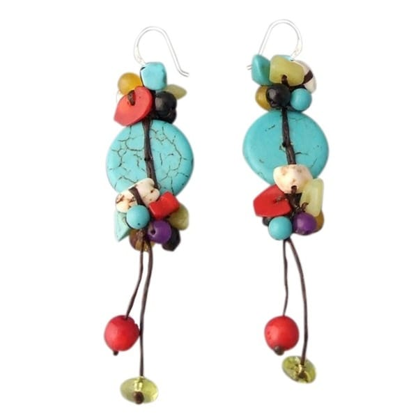 SterlingSilver Turquoise/ Multistone Handmade Drop Earrings (Thailand)