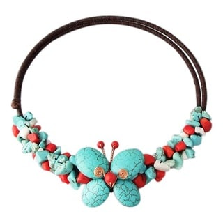 Copper Turquoise Multistone Butterfly Wire Wrap Choker Necklace (Thailand)