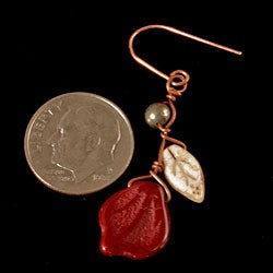 Copper Deep Burgundy Vines of Tenacity Earrings