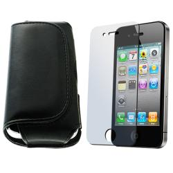 INSTEN Leather Phone Case Cover and LCD Protector for Apple iPhone 4