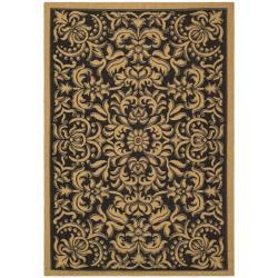 Safavieh Indoor/Outdoor Black/Natural Area Rug (4' x 5'7
