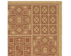 Indoor/ Outdoor Natural/ Brick Red Rug (4' x 5'7)