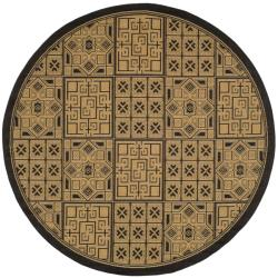 "Contemporary Indoor/Outdoor Black/Natural Rug (6'7"" Round)"