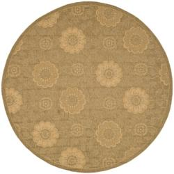 Safavieh Indoor/ Outdoor Gold/ Natural Rug (6'7 Round)