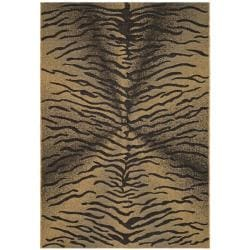 "Indoor/Outdoor Black/Natural Synthetic-Fiber Rug (6'7"" x 9'6"")"