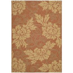 "Contemporary Indoor/Outdoor Brick Red/Natural Rug (2'7"" x 5')"