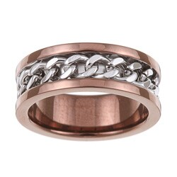 Brown Ion-plated Stainless Steel Men's Chain Detail Band (7.5 mm)