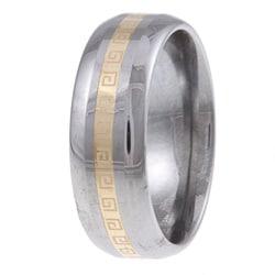 Men's Tungsten 14k Gold Greek Key Detail Band (7.5 mm)
