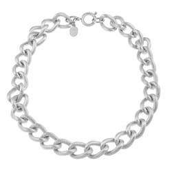 Stainless Steel Textured 18-inch Curb Link Necklace (16 mm)
