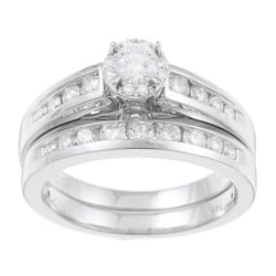 14k White Gold 1ct TDW Certified Diamond Engagement Ring Set (F-G, I1-I2)