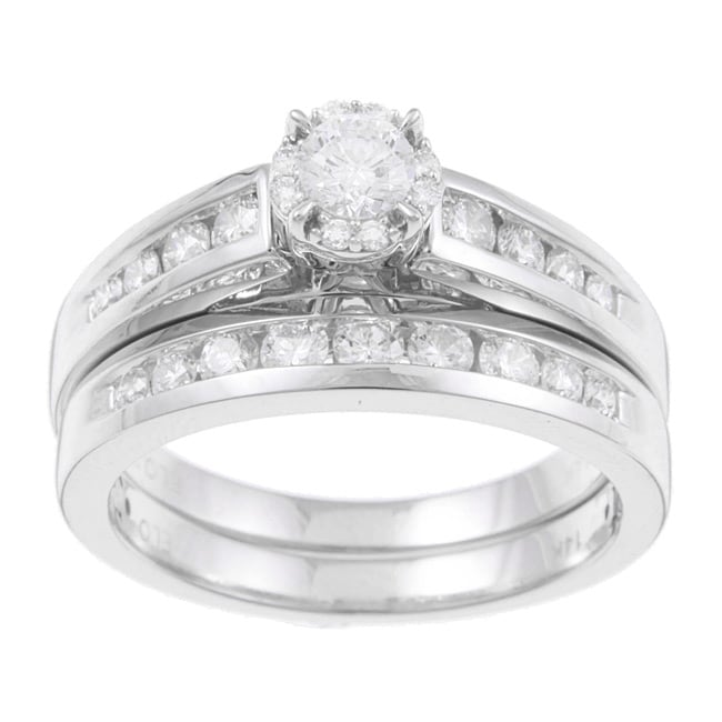 Eloquence 14k White Gold 1ct TDW Certified Diamond Engagement Ring Set (F-G, I1-I2)