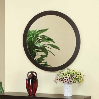 Furniture of America Taree Round Red Cocoa Mirror
