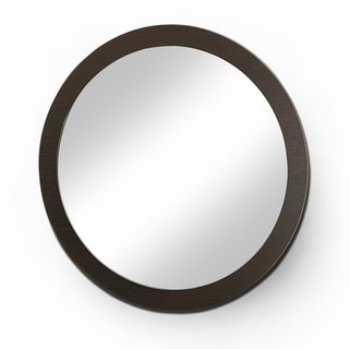 Taree Round Red Cocoa Beveled Mirror