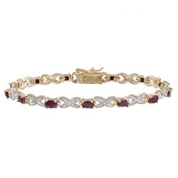 Dolce Giavonna Gold over Silver Ruby and Diamond Accent Bracelet