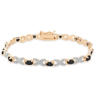 Dolce Giavonna Gold over Silver Gemstone and Diamond Accent 'XO' Bracelet