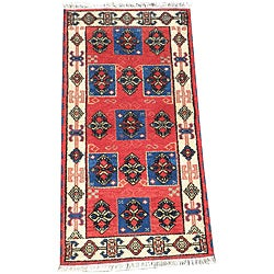 Indo Hand-Knotted Kazak Traditional Red Wool Rug (2' x 4')