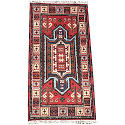 Indo Hand-Knotted Kazak Red Wool Accent Rug (2' x 4')