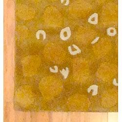 Indo Hand-Tufted Geometric Tibetan Gold Wool Rug (2' x 3')