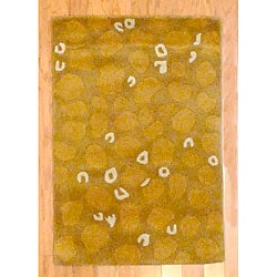 Indo Hand-Tufted Geometric Tibetan Gold Wool Rug (2' x 3')