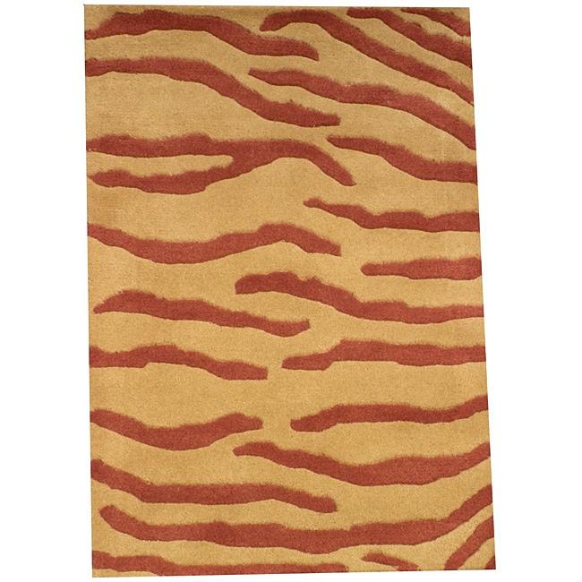 Indo Hand-tufted Tibetan Gold Wool Rug (2' x 3')