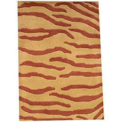 Indo Hand-tufted Tibetan Gold Wool Rug (2' x 3')