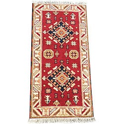 Indo Hand-Knotted Kazak Geometric Red Wool Rug (2' x 4')