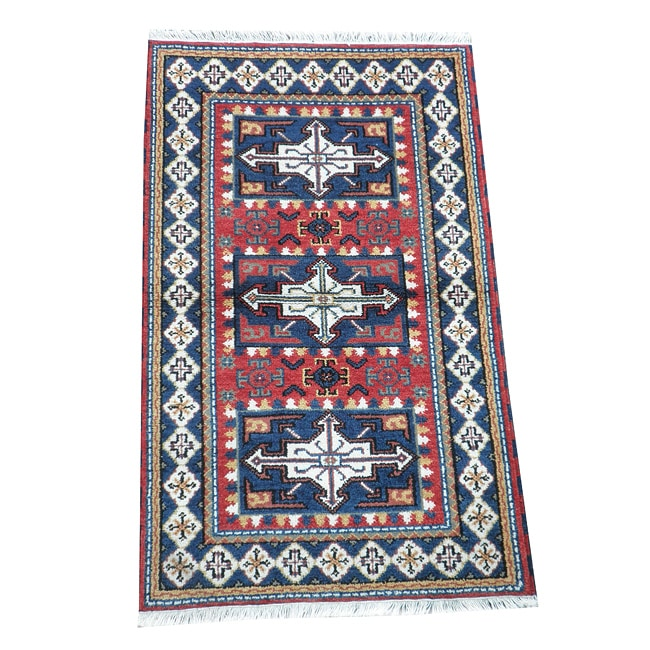 Indo Hand-knotted Kazak Red Wool Rug (3' x 5')