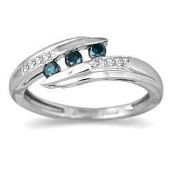 10k Gold 1/5ct TDW Blue and White Diamond Bypass Ring (I-J, I1-I2)