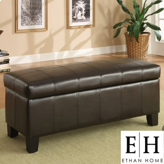 ETHAN HOME Florenville Brown Faux Leather Storage Ottoman
