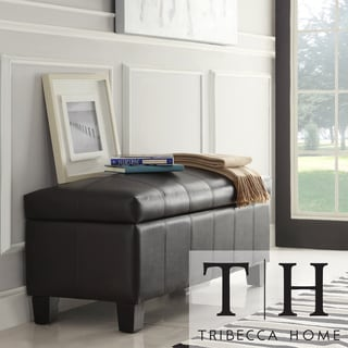 TRIBECCA HOME Florenville Brown Faux Leather Storage Ottoman