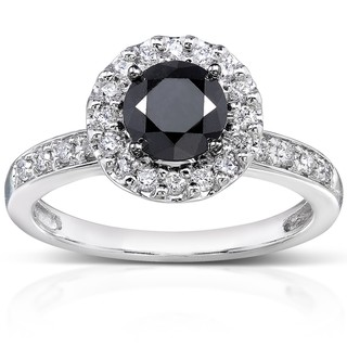 Annello 14k White Gold 1ct TDW Black and White Diamond Halo Ring (H-I, I1-I2)