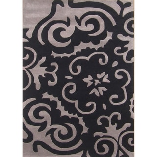 Hand-tufted Metro Medallion Black Wool Rug (8' x 10')