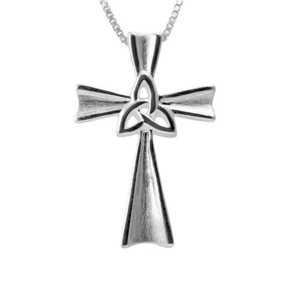 Sterling Silver Celtic Knot Cross Necklace (Thailand)