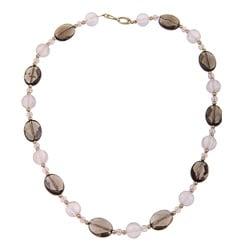 DaVonna 14k Gold Beads with Rose Quartz and Smokey Quartz Bead Necklace