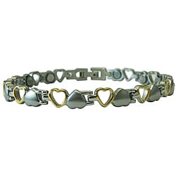 Brushed Silver/ Polished Gold Magnetic Small Hearts Bracelet