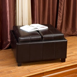 Christopher Knight Home Mansfield Bonded Leather Espresso Tray Top Storage Ottoman