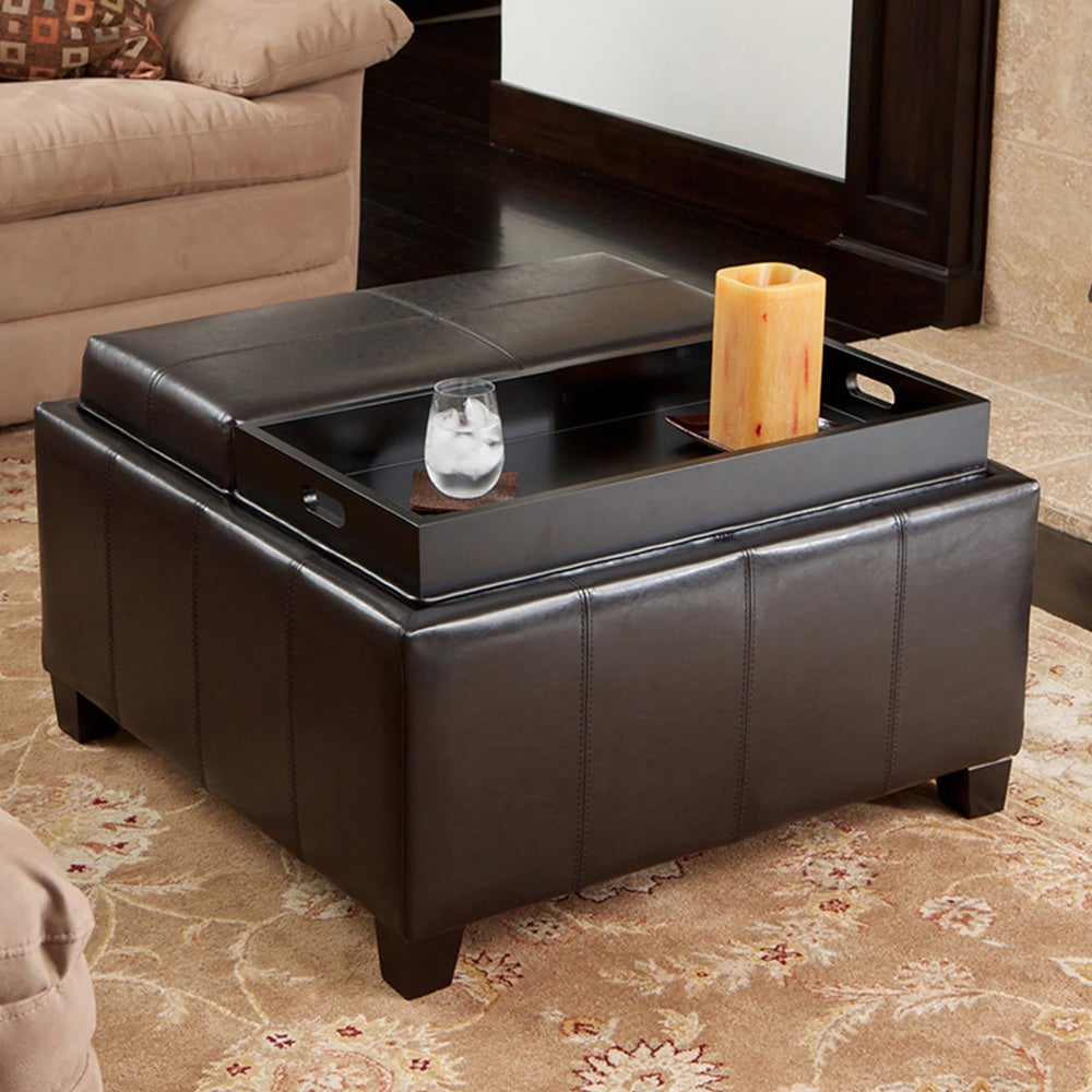 christopher knight home mansfield bonded leather espresso tray top storage ottoman overstock. Black Bedroom Furniture Sets. Home Design Ideas