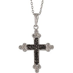 Sterling Silver 1/4ct TDW Black and White Diamond Cross Necklace (I-J, I3)