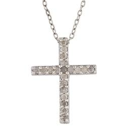 Sterling Silver 1/4ct TDW Diamond Cross Necklace (I-J, I3)