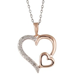 Silver and Rose Gold 1/10ct TDW Diamond Double Heart Necklace (I-J, I3)
