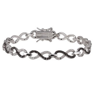 Silver 1/4ct TDW Black and White Diamond Infinity Bracelet