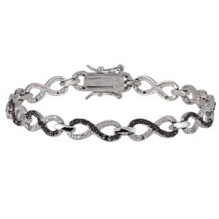 Silver 1/4ct TDW Black and White Diamond Infinity Bracelet