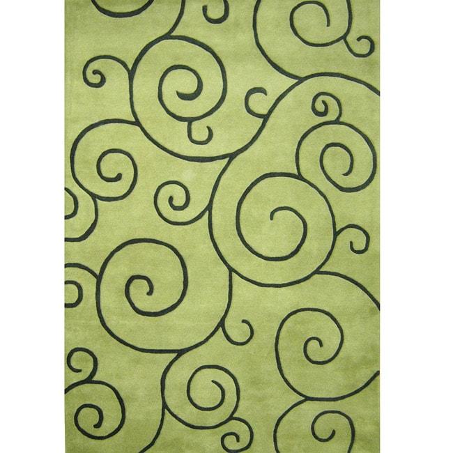 Alliyah Handmade Lime Green New Zealand Blend Wool Rug(8' x 10')