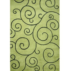 Hand-tufted Sarah Scrolls Green Wool Rug (8' x 10')