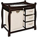 Sleigh Style Espresso Changing Table with Hamper and Baskets